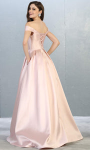 Mayqueen MQ 1784 long blush pink off shoulder evening flowy dress. Full length light pink satin taffeta gown is perfect for  enagagement/e-shoot dress, formal wedding guest, indowestern gown, evening party dress, prom, bridesmaid. Plus sizes avail-b.jpg
