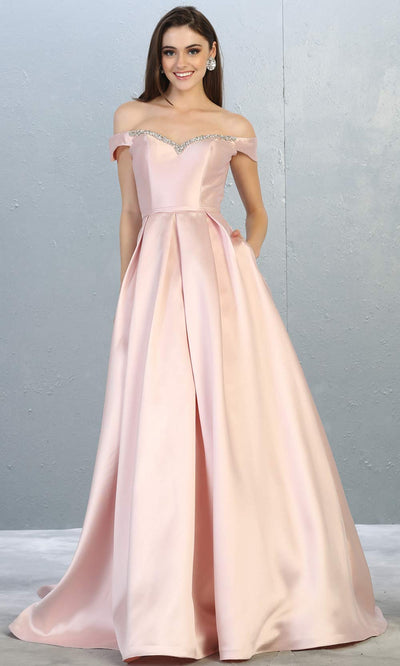 Mayqueen MQ 1784 long blush pink off shoulder evening flowy dress. Full length light pink satin taffeta gown is perfect for  enagagement/e-shoot dress, formal wedding guest, indowestern gown, evening party dress, prom, bridesmaid. Plus sizes avail.jpg