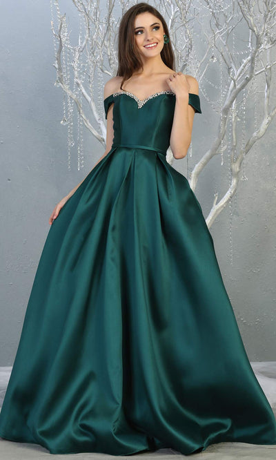 Mayqueen MQ 1784 long hunter green off shoulder evening flowy dress. Full length dark green satin taffeta gown is perfect for  enagagement/e-shoot dress, formal wedding guest, indowestern gown, evening party dress, prom, bridesmaid. Plus sizes avail.jpg