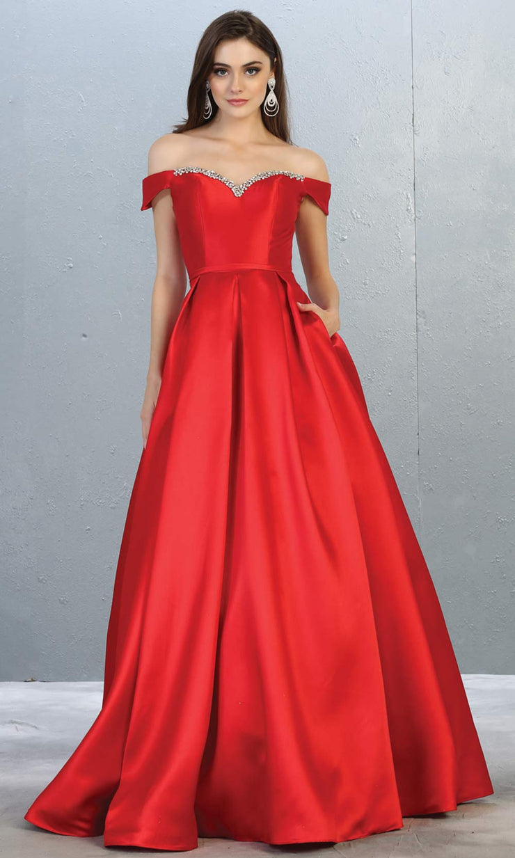 Mayqueen MQ 1784 long red off shoulder evening flowy dress. Full length red satin taffeta gown is perfect for  enagagement/e-shoot dress, formal wedding guest, indowestern gown, evening party dress, prom, bridesmaid. Plus sizes avail.jpg