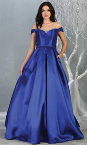 Mayqueen MQ 1784 long royal blue off shoulder evening flowy dress. Full length royal blue satin taffeta gown is perfect for  enagagement/e-shoot dress, formal wedding guest, indowestern gown, evening party dress, prom, bridesmaid. Plus sizes avail.jpg