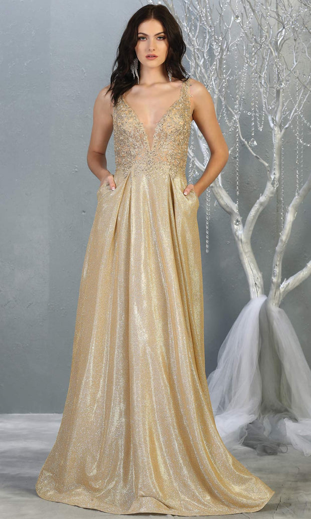 Mayqueen MQ 1785 long champagne gold v neck evening flowy dress. Full length gold satin metallic gown is perfect for  enagagement/e-shoot dress, formal wedding guest, indowestern gown, evening party dress, prom, bridesmaid. Plus sizes avail.jpg