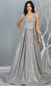 Mayqueen MQ 1785 long silver grey v neck evening flowy dress. Full length light gray satin metallic gown is perfect for  enagagement/e-shoot dress, formal wedding guest, indowestern gown, evening party dress, prom, bridesmaid. Plus sizes avail.jpg