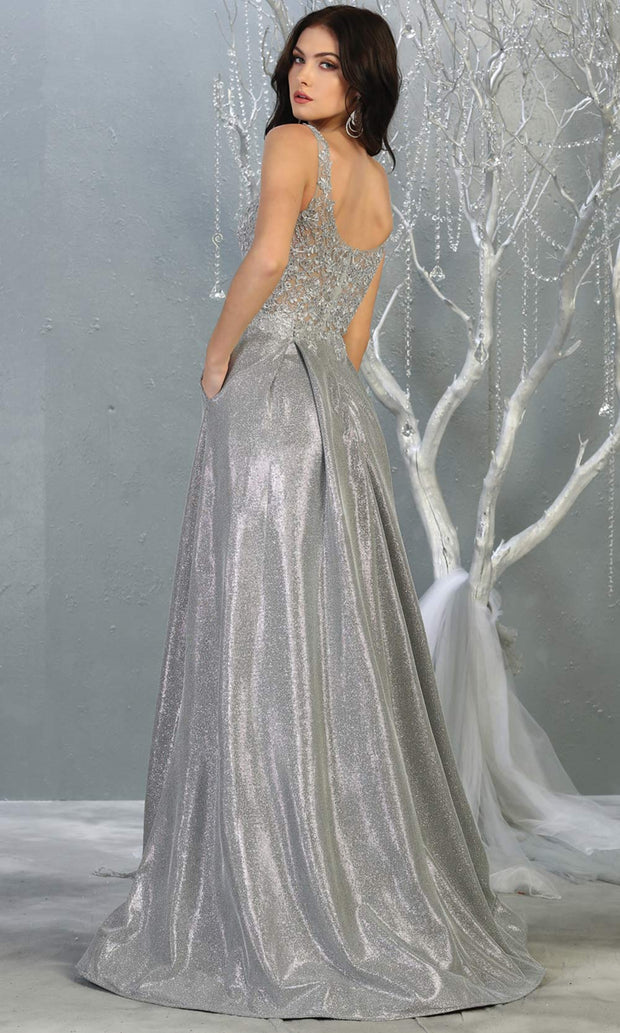 Mayqueen MQ 1785 long silver grey v neck evening flowy dress. Full length light gray satin metallic gown is perfect for  enagagement/e-shoot dress, formal wedding guest, indowestern gown, evening party dress, prom, bridesmaid. Plus sizes avail-back.jpg