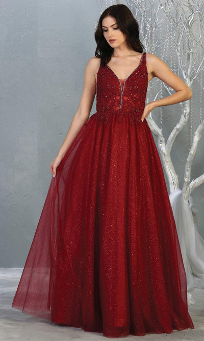 Mayqueen MQ1786 long burgundy red v neck evening flowy tulle dress. Full length dark red  glittery gown w/straps is perfect for  enagagement/e-shoot dress, formal wedding guest, indowestern gown, evening party dress, prom, bridesmaid. Plus sizes avail.jpg