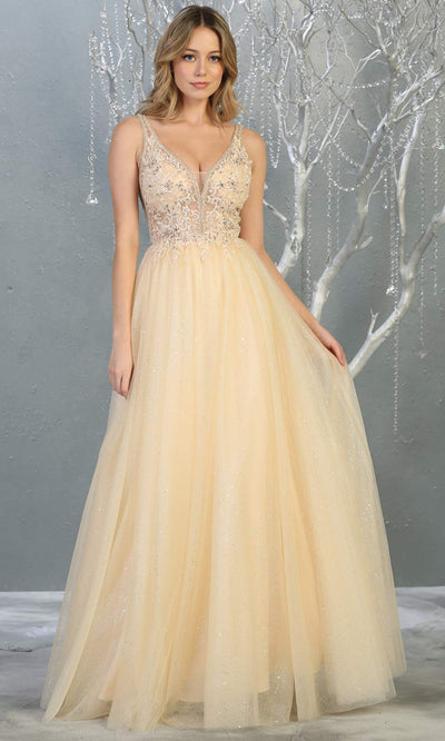 Mayqueen MQ1786 long champagne v neck evening flowy tulle dress. Full length light gold  glittery gown w/straps is perfect for  enagagement/e-shoot dress, formal wedding guest, indowestern gown, evening party dress, prom, bridesmaid. Plus sizes avail.jpg
