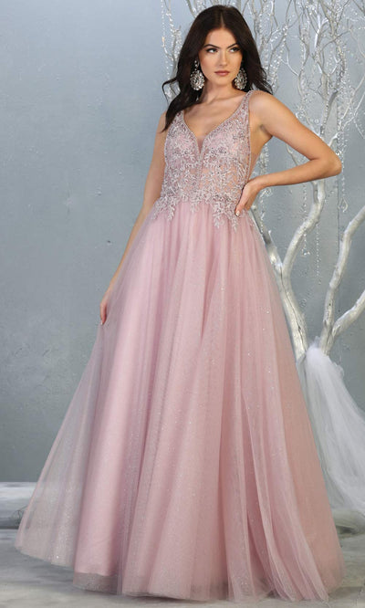 Mayqueen MQ1786 long mauve v neck evening flowy tulle dress. Full length dusty rose glittery gown w/straps is perfect for  enagagement/e-shoot dress, formal wedding guest, indowestern gown, evening party dress, prom, bridesmaid. Plus sizes avail.jpg