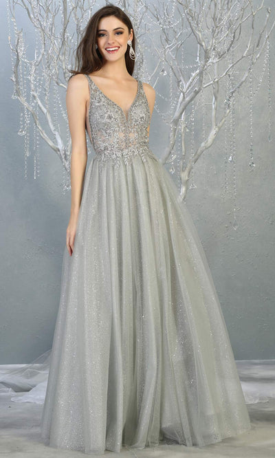 Mayqueen MQ1786 long silver v neck evening flowy tulle dress. Full length light grey glittery gown w/straps is perfect for  enagagement/e-shoot dress, formal wedding guest, indowestern gown, evening party dress, prom, bridesmaid. Plus sizes avail.jpg