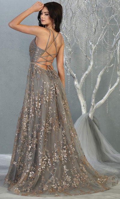 Mayqueen MQ1787 long charcoal gold evening flowy tulle dress. Full length light gold glittery gown w/open back is perfect for  enagagement/e-shoot dress, formal wedding guest, indowestern gown, evening party dress, prom, bridesmaid. Plus sizes avail-b.jpg