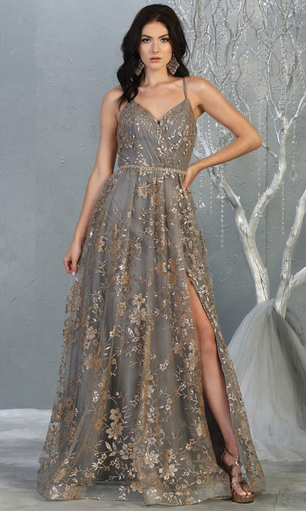 Mayqueen MQ1787 long charcoal gold evening flowy tulle dress. Full length light gold glittery gown w/open back is perfect for  enagagement/e-shoot dress, formal wedding guest, indowestern gown, evening party dress, prom, bridesmaid. Plus sizes avail.jpg