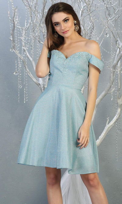 Mayqueen MQ1788 short light blue metallic flowy simple grade 8 graduation off shoulder dress. Light blue party dress is perfect for graduation, grade 8 grad, confirmation dress, bat mitzvah dress, damas. Plus sizes avail for grad dress.jpg