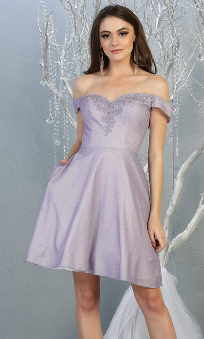 Mayqueen MQ1788 short lilac metallic flowy simple grade 8 graduation off shoulder dress. Light purple party dress is perfect for graduation, grade 8 grad, confirmation dress, bat mitzvah dress, damas. Plus sizes avail for grad dress.jpg