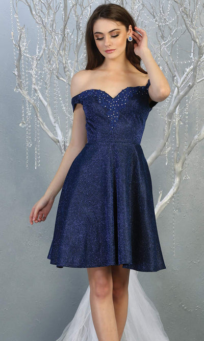 Mayqueen MQ1788 short navy blue metallic flowy simple grade 8 graduation off shoulder dress. Dark blue party dress is perfect for graduation, grade 8 grad, confirmation dress, bat mitzvah dress, damas. Plus sizes avail for grad dress.jpg