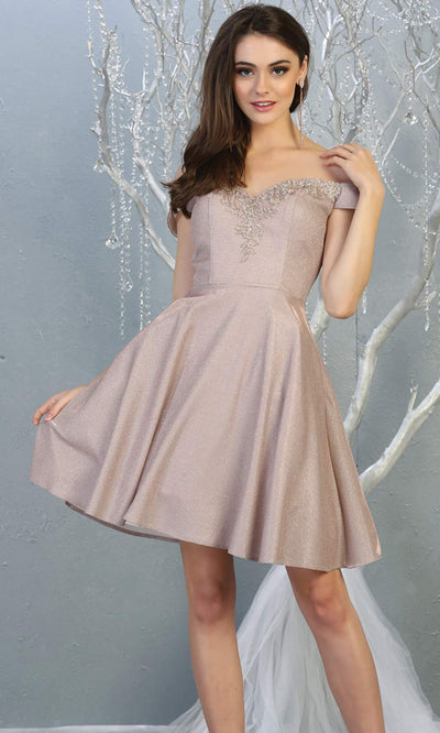 Mayqueen MQ1788 short rose gold metallic flowy simple grade 8 graduation off shoulder dress. Rose gold party dress is perfect for graduation, grade 8 grad, confirmation dress, bat mitzvah dress, damas. Plus sizes avail for grad dress.jpg