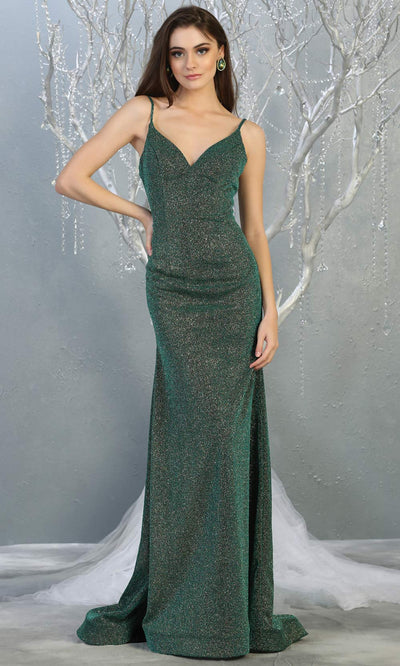 Mayqueen MQ1789 long hunter green v neck evening fitted dress. Full length dark green glittery gown w/straps is perfect for  enagagement/e-shoot dress, formal wedding guest, indowestern gown, evening party dress, prom, bridesmaid. Plus sizes avail.jpg