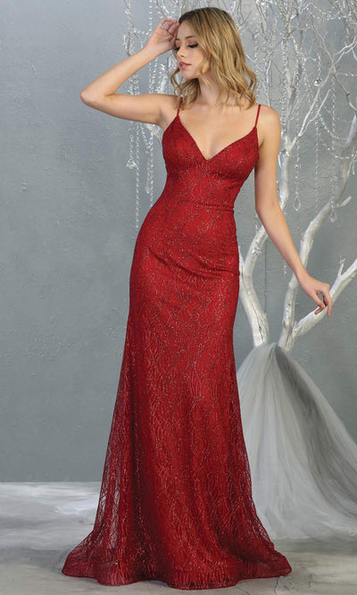 Mayqueen MQ1790 long burgundy red v neck evening fitted dress. Full length dark red glittery gown w/straps is perfect for  enagagement/e-shoot dress, formal wedding guest, indowestern gown, evening party dress, prom, bridesmaid. Plus sizes avail.jpg
