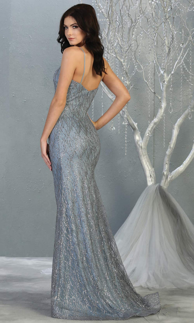 Mayqueen MQ1790 long dusty blue v neck evening fitted dress. Full length dusty blue glittery gown w/straps is perfect for  enagagement/e-shoot dress, formal wedding guest, indowestern gown, evening party dress, prom, bridesmaid. Plus sizes avail-back.jpg