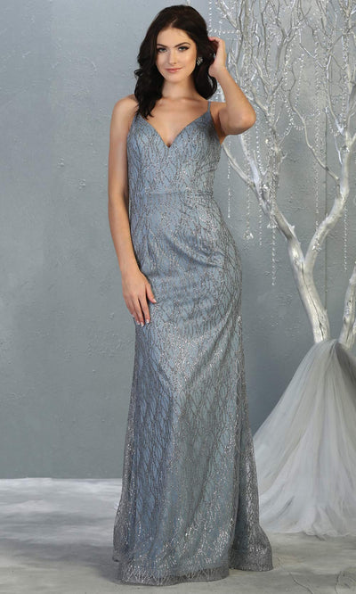 Mayqueen MQ1790 long dusty blue v neck evening fitted dress. Full length dusty blue glittery gown w/straps is perfect for  enagagement/e-shoot dress, formal wedding guest, indowestern gown, evening party dress, prom, bridesmaid. Plus sizes avail.jpg