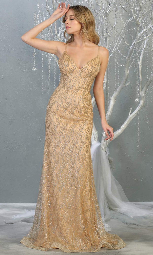 Mayqueen MQ1790 long gold v neck evening fitted dress. Full length gold glittery gown w/straps is perfect for  enagagement/e-shoot dress, formal wedding guest, indowestern gown, evening party dress, prom, bridesmaid. Plus sizes avail.jpg
