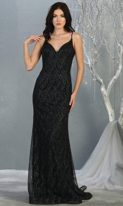 Mayqueen MQ1790 long hunter green v neck evening fitted dress. Full length dark green glittery gown w/straps is perfect for  enagagement/e-shoot dress, formal wedding guest, indowestern gown, evening party dress, prom, bridesmaid. Plus sizes avail.jpg