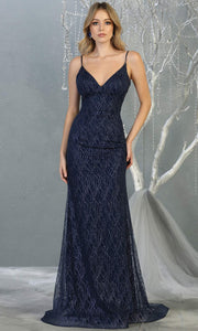 Mayqueen MQ1790 long navy blue v neck evening fitted dress. Full length dark blue glittery gown w/straps is perfect for  enagagement/e-shoot dress, formal wedding guest, indowestern gown, evening party dress, prom, bridesmaid. Plus sizes avail.jpg