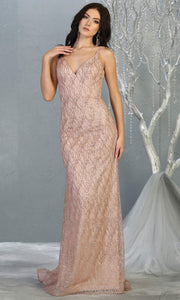 Mayqueen MQ1790 long rose gold v neck evening fitted dress. Full length rose gold glittery gown w/straps is perfect for  enagagement/e-shoot dress, formal wedding guest, indowestern gown, evening party dress, prom, bridesmaid. Plus sizes avail.jpg