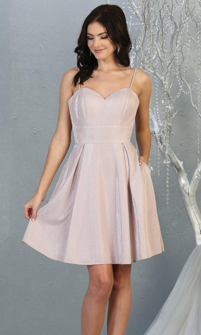 Mayqueen MQ1791 short light pink metallic flowy simple grade 8 graduation dress w/ straps & corset back. Light pink party dress is perfect for graduation, grade 8 grad, confirmation dress, bat mitzvah dress, damas. Plus sizes avail for grad dress.jpg