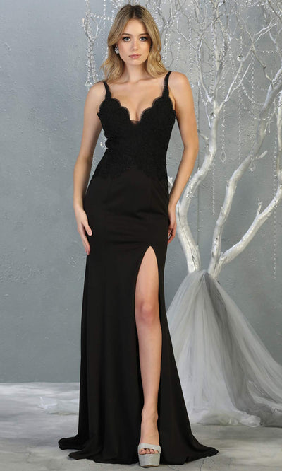 Mayqueen MQ1792 long black v neck evening fitted dress. Full length black simple gown w/straps & slit is perfect for  enagagement/e-shoot dress, formal wedding guest, indowestern gown, evening party dress, prom, bridesmaid. Plus sizes avail.jpg