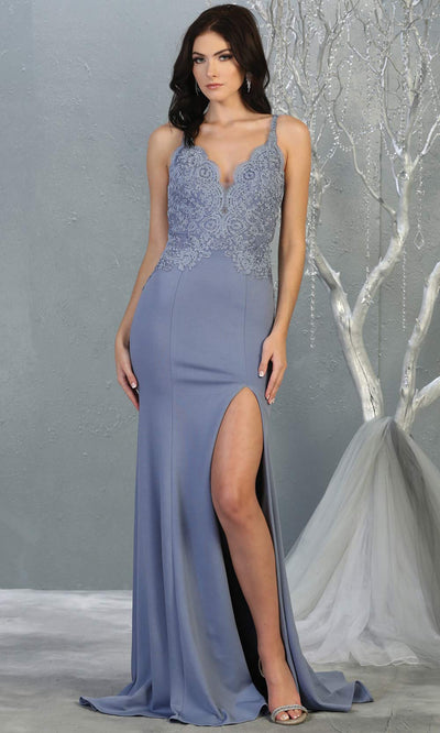 Mayqueen MQ1792 long dusty blue v neck evening fitted dress. Full length dusty blue simple gown w/straps & slit is perfect for  enagagement/e-shoot dress, formal wedding guest, indowestern gown, evening party dress, prom, bridesmaid. Plus sizes avail.jpg