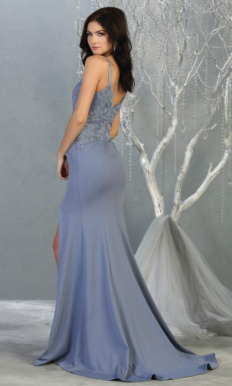 Mayqueen MQ1792 long dusty blue v neck evening fitted dress. Full length dusty blue simple gown w/straps & slit is perfect for  enagagement/e-shoot dress, formal wedding guest, indowestern gown, evening party dress, prom, bridesmaid.Plus sizes avail-b.jpg