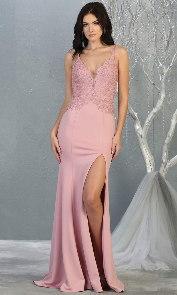 Mayqueen MQ1792 long dusty rose v neck evening fitted dress. Full length dusty rose simple gown w/straps & slit is perfect for  enagagement/e-shoot dress, formal wedding guest, indowestern gown, evening party dress, prom, bridesmaid. Plus sizes avail.jpg
