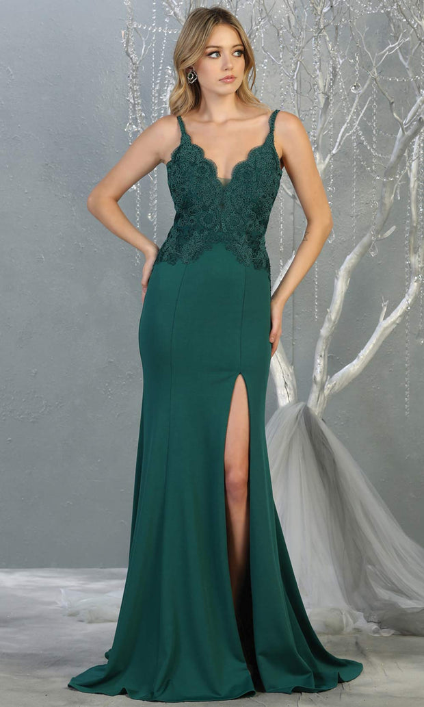 Mayqueen MQ1792 long hunter green vneck evening fitted dress. Full length dark green simple gown w/straps & slit is perfect for  enagagement/e-shoot dress, formal wedding guest, indowestern gown, evening party dress, prom, bridesmaid. Plus sizes avail.jpg