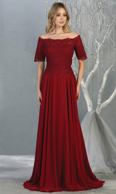 Mayqueen MQ 1793 long burgundy red off shoulder modest flowy dress w/ sleeves. Dark red chiffon & lace top is perfect for  mother of the bride, formal wedding guest, indowestern gown, evening party dress, dark red muslim party dress. Plus sizes avail.jpg