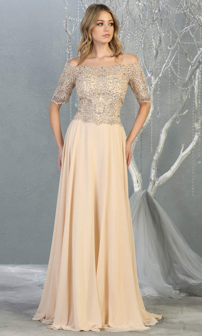 Mayqueen MQ 1793 long champagne off shoulder modest flowy dress w/ sleeves. Light gold chiffon & lace top is perfect for  mother of the bride, formal wedding guest, indowestern gown, evening party dress, dark red muslim party dress. Plus sizes avail.jpg