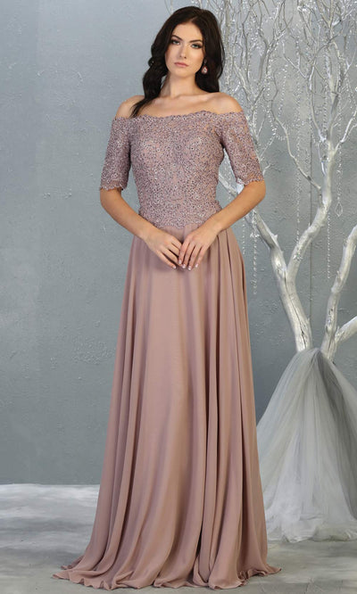 Mayqueen MQ 1793 long mauve pink off shoulder modest flowy dress w/ sleeves. Dusty rose chiffon & lace top is perfect for  mother of the bride, formal wedding guest, indowestern gown, evening party dress, dark red muslim party dress. Plus sizes avail.jpg