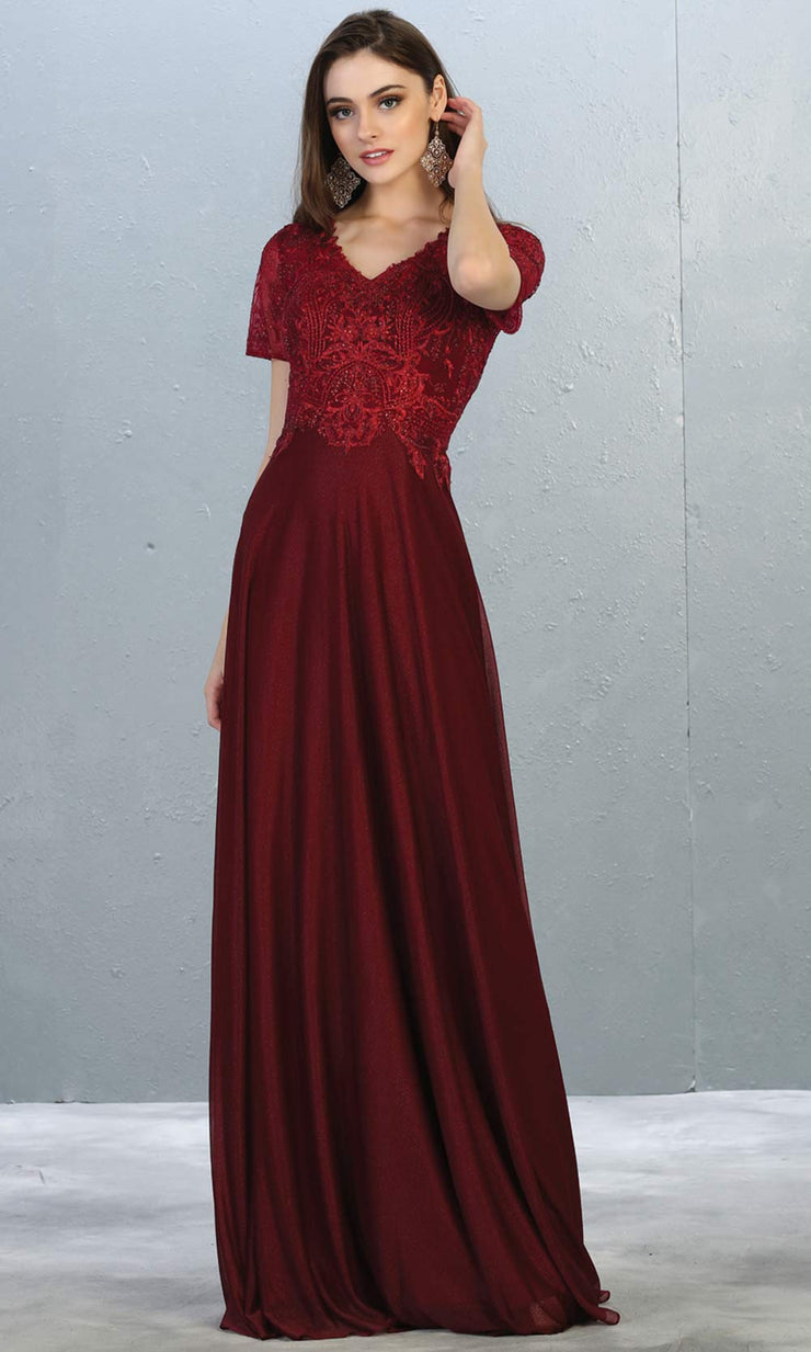 Mayqueen MQ1794 long burgundy red v neck modest flowy dress w/ sleeves. Dark red chiffon & lace top is perfect for  mother of the bride, formal wedding guest, indowestern gown, evening party dress, dark red muslim party dress. Plus sizes avail.jpg