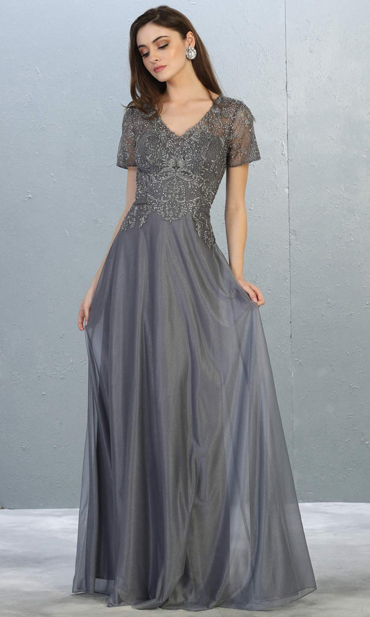 Mayqueen MQ1794 long charcoal grey v neck modest flowy dress w/ sleeves. Dark gray chiffon & lace top is perfect for  mother of the bride, formal wedding guest, indowestern gown, evening party dress, dark red muslim party dress. Plus sizes avail.jpg