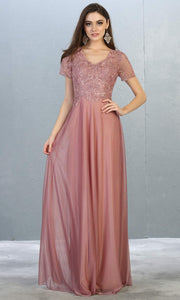 Mayqueen MQ1794 long mauve pink v neck modest flowy dress w/ sleeves. Light pink chiffon & lace top is perfect for  mother of the bride, formal wedding guest, indowestern gown, evening party dress, dark red muslim party dress. Plus sizes avail.jpg