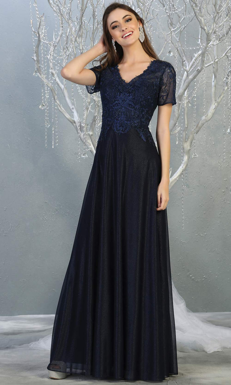 Mayqueen MQ1794 long navy blue v neck modest flowy dress w/ sleeves. Dark blue chiffon & lace top is perfect for  mother of the bride, formal wedding guest, indowestern gown, evening party dress, dark red muslim party dress. Plus sizes avail.jpg