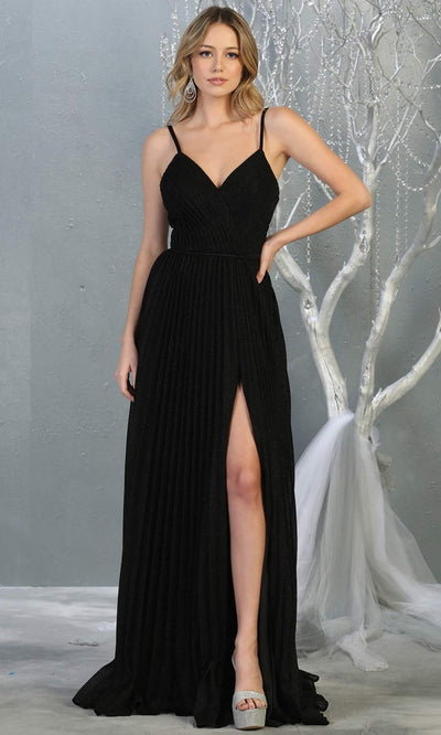 Mayqueen MQ1795 long black v neck evening flowy dress w/ high slit. Full length black gown w/ crinkle dress is perfect for  enagagement/e-shoot dress, formal wedding guest, indowestern gown, evening party dress, prom, bridesmaid. Plus sizes avail.jpg