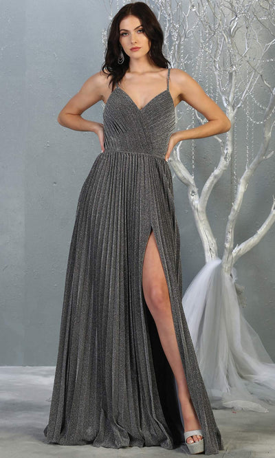 Mayqueen MQ1795 long dark grey v neck evening flowy dress w/ high slit. Full length gown w/ crinkle dress is perfect for  enagagement/e-shoot dress, formal wedding guest, indowestern gown, evening party dress, prom, bridesmaid. Plus sizes avail.jpg
