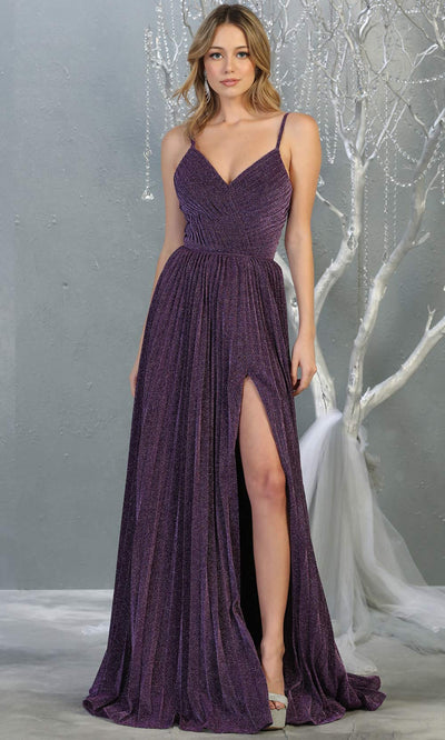 Mayqueen MQ1795 long eggplant v neck evening flowy dress w/ high slit. Full length gown w/ crinkle dress is perfect for  enagagement/e-shoot dress, formal wedding guest, indowestern gown, evening party dress, prom, bridesmaid. Plus sizes avail.jpg