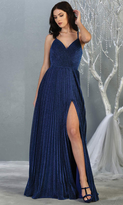 Mayqueen MQ1795 long navy blue v neck evening flowy dress w/ high slit. Full length gown w/ crinkle dress is perfect for  enagagement/e-shoot dress, formal wedding guest, indowestern gown, evening party dress, prom, bridesmaid. Plus sizes avail.jpg.jpg