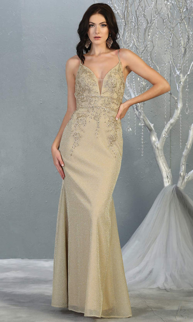 Mayqueen MQ1796 long champagne v neck evening fitted dress. Full length light gold glittery gown w/straps is perfect for  enagagement/e-shoot dress, formal wedding guest, indowestern gown, evening party dress, prom, bridesmaid. Plus sizes avail.jpg