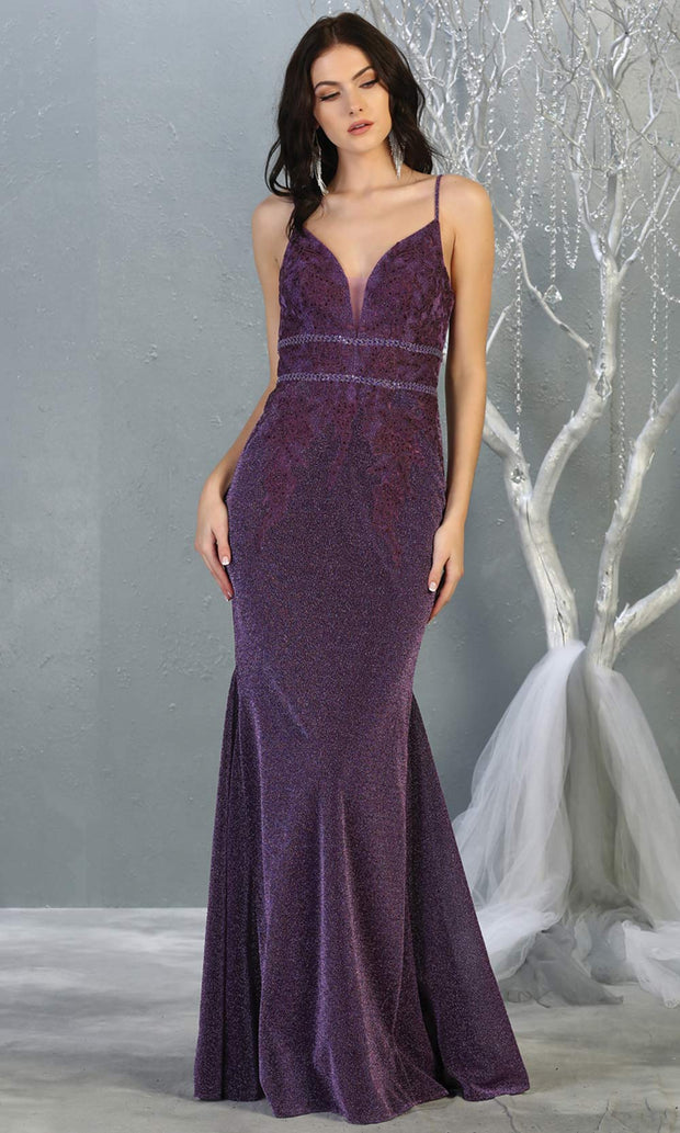 Mayqueen MQ1796 long eggplant v neck evening fitted dress. Full length dark purple glittery gown w/straps is perfect for  enagagement/e-shoot dress, formal wedding guest, indowestern gown, evening party dress, prom, bridesmaid. Plus sizes avail.jpg.jpg