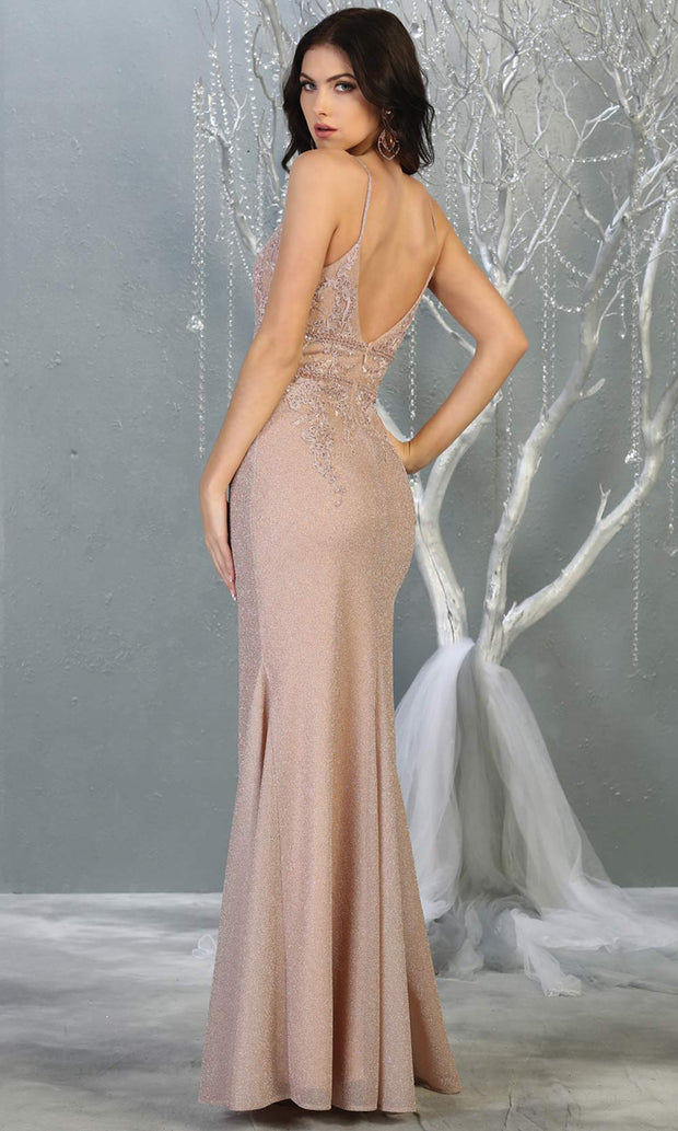 Mayqueen MQ1796 long rose gold v neck evening fitted dress. Full length rose gold glittery gown w/straps is perfect for  enagagement/e-shoot dress, formal wedding guest, indowestern gown, evening party dress, prom, bridesmaid. Plus sizes avail-back.jpg