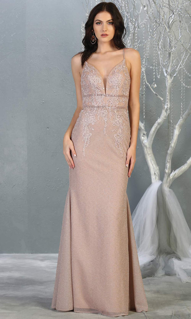 Mayqueen MQ1796 long rose gold v neck evening fitted dress. Full length rose gold glittery gown w/straps is perfect for  enagagement/e-shoot dress, formal wedding guest, indowestern gown, evening party dress, prom, bridesmaid. Plus sizes avail.jpg.jpg