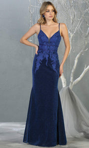 Mayqueen MQ1796 long royal blue v neck evening fitted dress. Full length dark blue glittery gown w/ low back is perfect for  enagagement/e-shoot dress, formal wedding guest, indowestern gown, evening party dress, prom, bridesmaid. Plus sizes avail.jpg