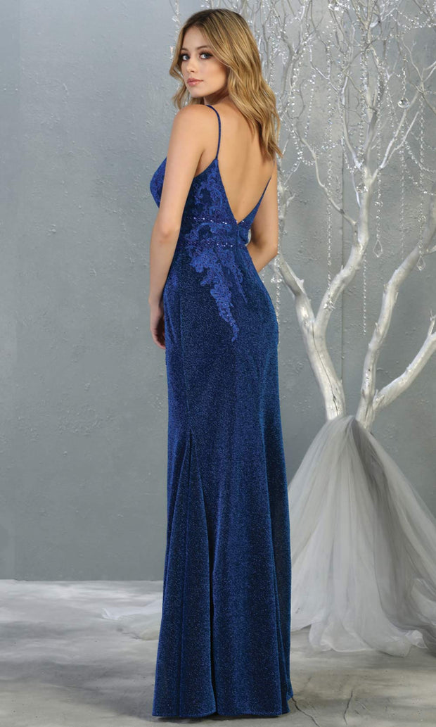 Mayqueen MQ1796 long royal blue v neck evening fitted dress. Full length dark blue glittery gown w/ low back is perfect for  enagagement/e-shoot dress, formal wedding guest, indowestern gown, evening party dress, prom, bridesmaid. Plus sizes avail-b.jpg