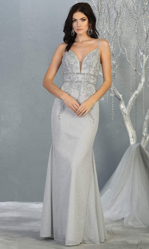 Mayqueen MQ1796 long silver grey v neck evening fitted dress. Full length light gray glittery gown w/ low back is perfect for  enagagement/e-shoot dress, formal wedding guest, indowestern gown, evening party dress, prom, bridesmaid. Plus sizes avail.jpg